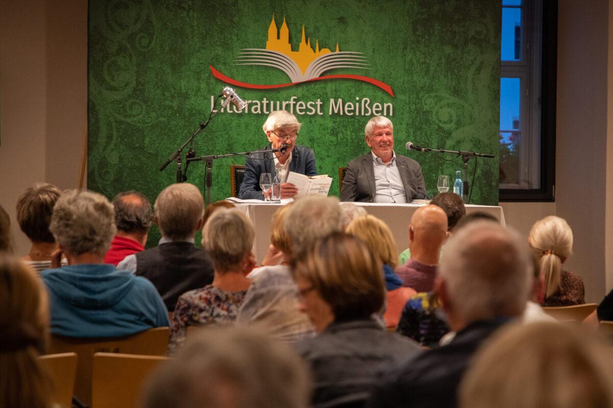 Christoph Hein und Michael Hametner im Historischen Ratssaal Literaturfest Meißen 2021